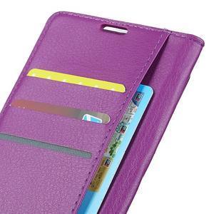 Litchi PU kožené púzdro na Sony Xperia L2 - fialové - 4