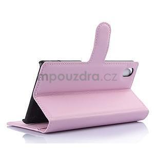 Svetle ružové PU kožené puzdro pre Sony Xperia M4 Aqua - 4