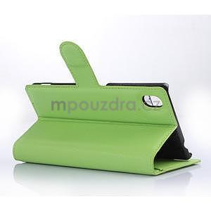 Zelené PU kožené pouzdro na Sony Xperia M4 Aqua - 4