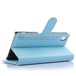 Svetle modré PU kožené puzdro pre Sony Xperia M4 Aqua - 4