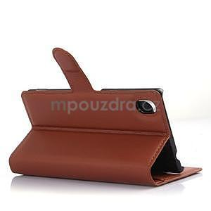 hnedé PU kožené puzdro pre Sony Xperia M4 Aqua - 4