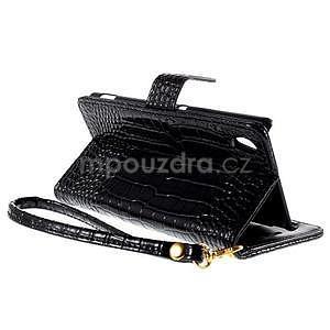 Černé PU kožené pouzdro aligátor pro Sony Xperia M4 Aqua - 4