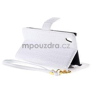 biele PU kožené puzdro aligátor pre Sony Xperia M4 Aqua - 4