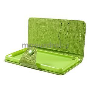 Zelené PU kožené Peňaženkové puzdro pre Sony Xperia M4 Aqua - 4
