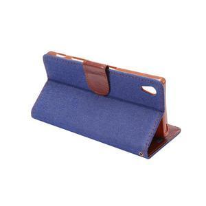 Jeans Peňaženkové puzdro Sony Xperia Z5 - tmavomodré - 4