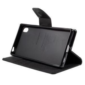 Canvas PU kožené/textilné puzdro pre Sony Xperia Z5 - čierne - 4