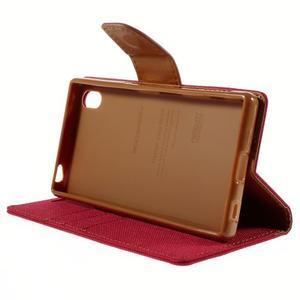 Canvas PU kožené/textilné puzdro pre Sony Xperia Z5 - červené - 4