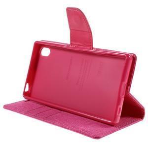 Canvas PU kožené/textilní pouzdro na Sony Xperia Z5 - rose - 4