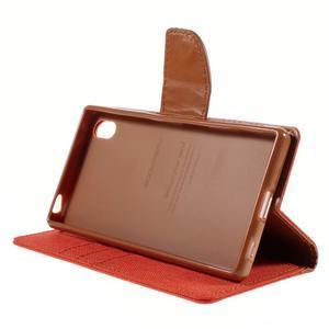 Canvas PU kožené/textilné puzdro pre Sony Xperia Z5 - oranžové - 4