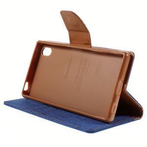 Canvas PU kožené/textilní pouzdro na Sony Xperia Z5 - modré - 4