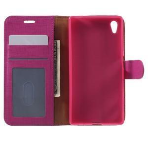 Grid PU kožené puzdro pre Sony Xperia Z5 - rose - 4