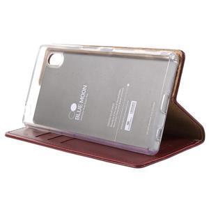 Moon PU kožené puzdro pre Sony Xperia Z5 - tmavočervené - 4