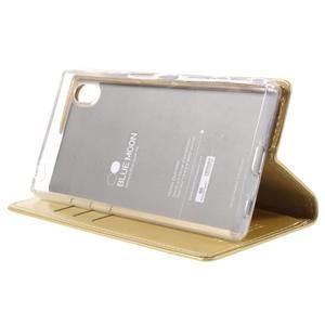 Moon PU kožené pouzdro na Sony Xperia Z5 - zlaté - 4