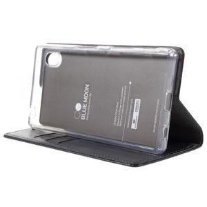 Moon PU kožené puzdro pre Sony Xperia Z5 - tmavomodré - 4