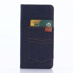 Štýlové jeans puzdro pre mobil Sony Xperia Z5 - tmavomodré - 4