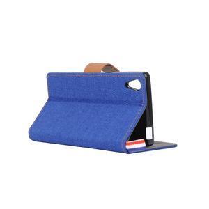 Cloth textilné/koženkové puzdro pre Sony Xperia Z5 - tmavomodré - 4