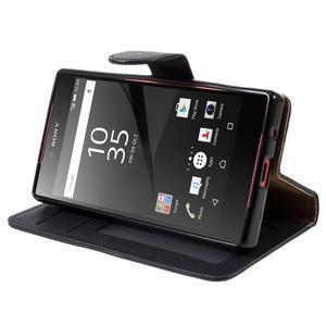 Grid Peňaženkové puzdro pre mobil Sony Xperia Z5 Compact - čierne - 4