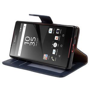 Grid Peňaženkové puzdro pre mobil Sony Xperia Z5 Compact - tmavomodré - 4