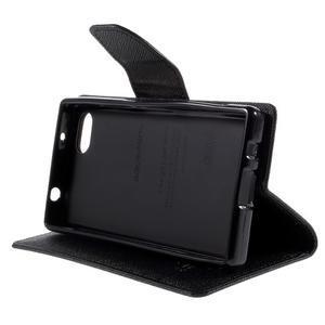 Fancy PU kožené puzdro pre Sony Xperia Z5 Compact - čierne - 4