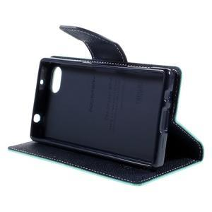 Fancy PU kožené puzdro pre Sony Xperia Z5 Compact - cyan - 4