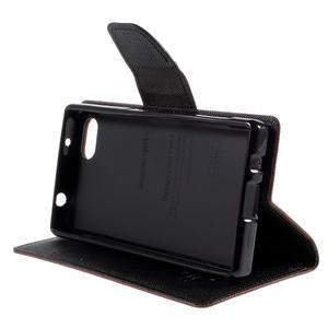 Fancy PU kožené pouzdro na Sony Xperia Z5 Compact - hnědé - 4