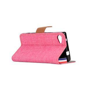 Cloth Peňaženkové puzdro pre mobil Sony Xperia Z5 Compact - ružové - 4