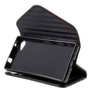 Stylové peněženkové pouzdro na Sony Xperia Z5 Compact - černé/hnědé - 4