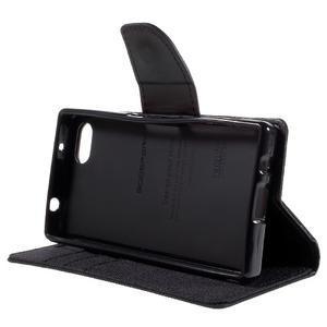 Canvas PU kožené/textilné puzdro pre Sony Xperia Z5 Compact - čierne - 4