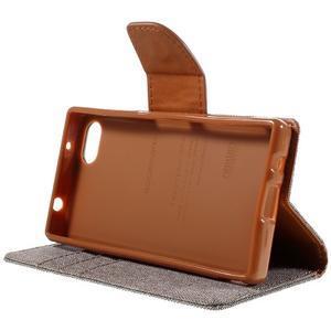 Canvas PU kožené/textilné puzdro pre Sony Xperia Z5 Compact - sivé - 4