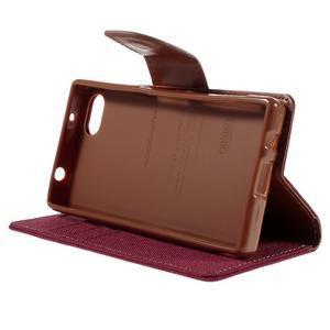 Canvas PU kožené/textilné puzdro pre Sony Xperia Z5 Compact - červené - 4
