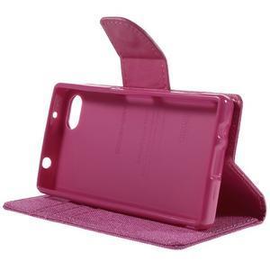 Canvas PU kožené/textilní pouzdro na Sony Xperia Z5 Compact - rose - 4
