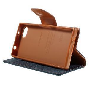 Canvas PU kožené/textilné puzdro pre Sony Xperia Z5 Compact - tmavomodré - 4