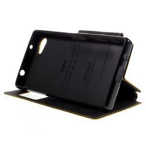 Puzdro s okienkom na Sony Xperia Z5 Compact - žlté - 4