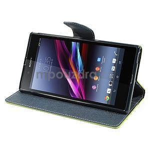 Peňaženkové PU kožené puzdro pre Sony Z Ultra - zelené - 4