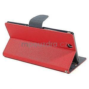 Peněženkové PU kožené pouzdro na Sony Z Ultra - červené - 4