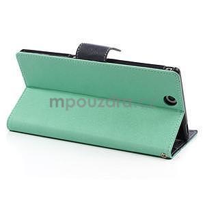 Peněženkové PU kožené pouzdro na Sony Z Ultra - azurové - 4