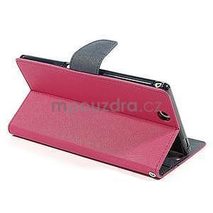 Peňaženkové PU kožené puzdro pre Sony Z Ultra - rose - 4
