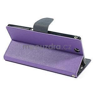 Peňaženkové PU kožené puzdro pre Sony Z Ultra - fialové - 4