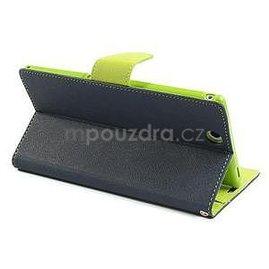 Peňaženkové PU kožené puzdro pre Sony Z Ultra - tmavomodré - 4
