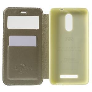 PU kožené pouzdro s okýnkem na Xiaomi Redmi Note 3 - zlaté - 4