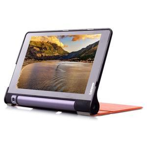 Polohovatelnotelné PU kožené pouzdro na Lenovo Yoga Tab 3 8.0 - oranžové - 4