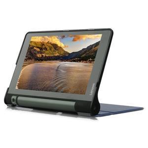 Polohovatelné PU kožené puzdro pre Lenovo Yoga Tab 3 8.0 - tmavomodré - 4
