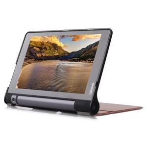Polohovatelnotelné PU kožené pouzdro na Lenovo Yoga Tab 3 8.0 - hnědé - 4