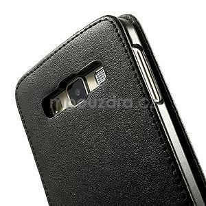 Kožené flipové puzdro na Samsung Galaxy A3 - čierné - 4