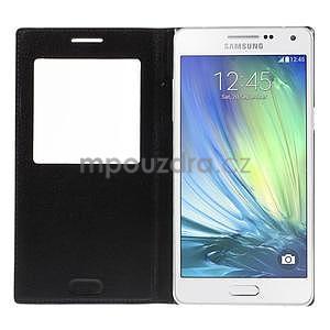 Kožené puzdro s okienkom pre Samsung Galaxy A5 - čierné - 4