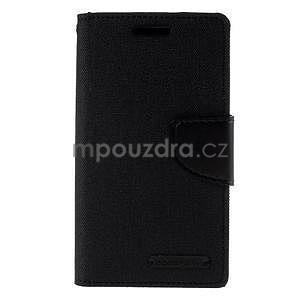 Stylové textilní/PU kožené pouzdro na Samsung Galaxy Core Prime - černé - 4