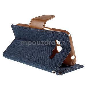 Štýlové textilné/PU kožené puzdro pre Samsung Galaxy Core Prime - modré - 4