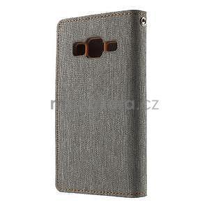 Stylové textilní/PU kožené pouzdro na Samsung Galaxy Core Prime - šedé - 4