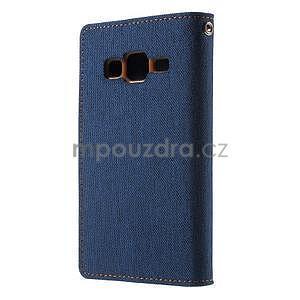 Štýlové textilné/PU kožené puzdro pre Samsung Galaxy Core Prime - jeans - 4