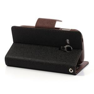 Diary puzdro pre mobil Samsung Galaxy S Duos / Trend Plus - čierne/hnedé - 4